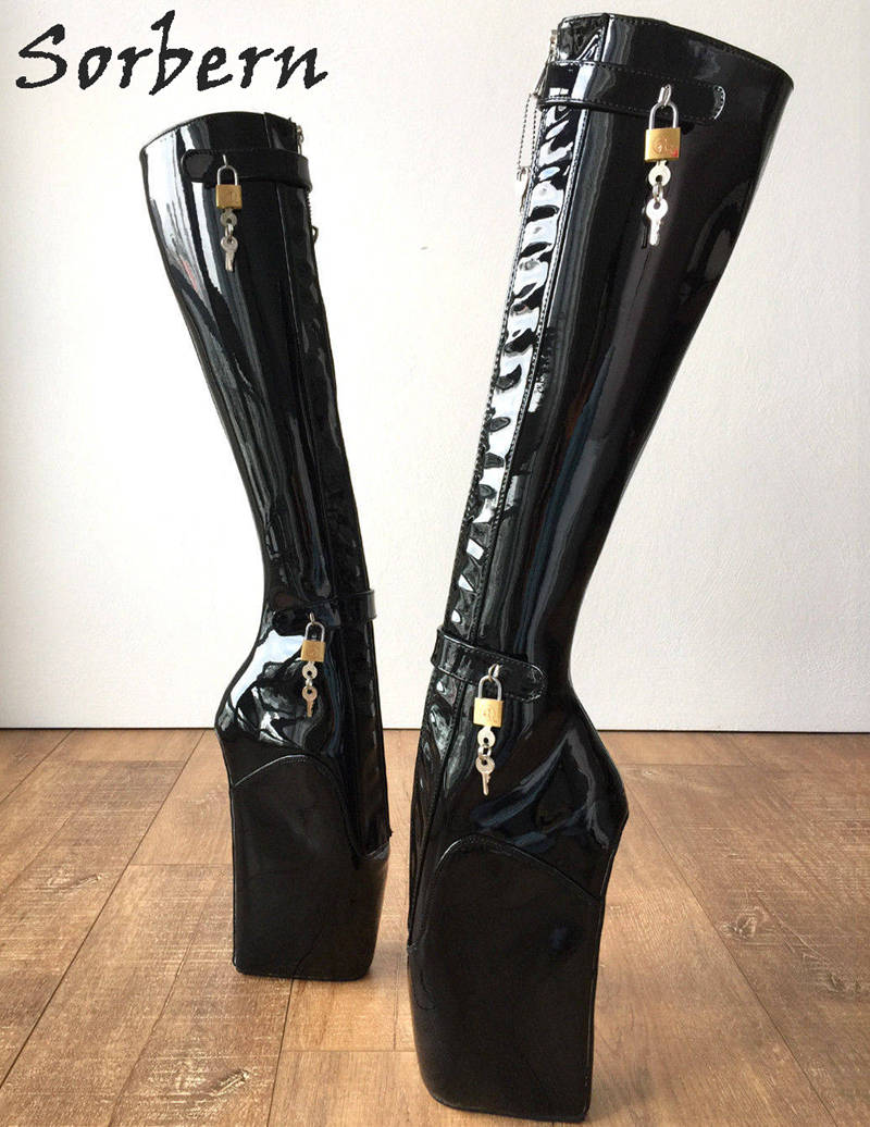 Damen Booties Gefüttert custom Schwarzes Große Sorbern 12 Heels Frauen Ballett Keil Hohe Größe Abschließbare Color Knie Stiefel wFnqO8C7w