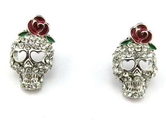 Push back Silver Steel Rhinestone Skull Earrings Halloween Fashion Jewelry