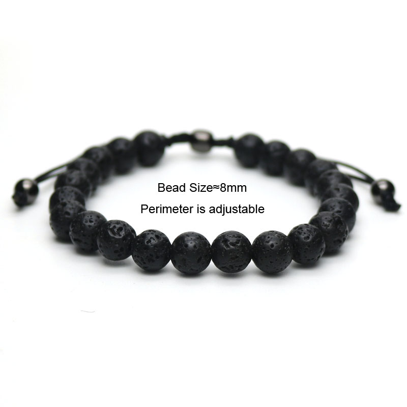Blue Stone Beads Bracelet DIY Braiding Macrame Adjustable Bracelet For Men and Women Pulseira Masculina G-8