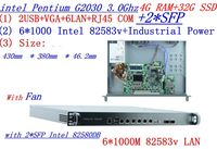 Дешевые сервер стойки 1U маршрутизаторы с 6*1000 м 82583 В Gigabit с 2 * SFP InteL G2030 3,0 ГГц 4 г Оперативная память 32 г SSD Поддержка ROS RouterOS и т. д.