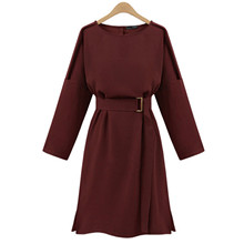 2016 Plus Size Clothing Linen Autumn Dress Slim Elegant Noble Vestidos Europe Casual Mujer Party Women's Dresses Elbise DH904