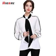 HIGBRE Women Sexy White Long Sleeve Shirt Women Blouses Office Shirts Plus Size Fashion Women Casual Loose Blouses 2017 Summer