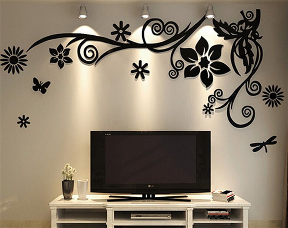 3d three dimensional crystal acrylic wall stickers home for Home decor drawing room