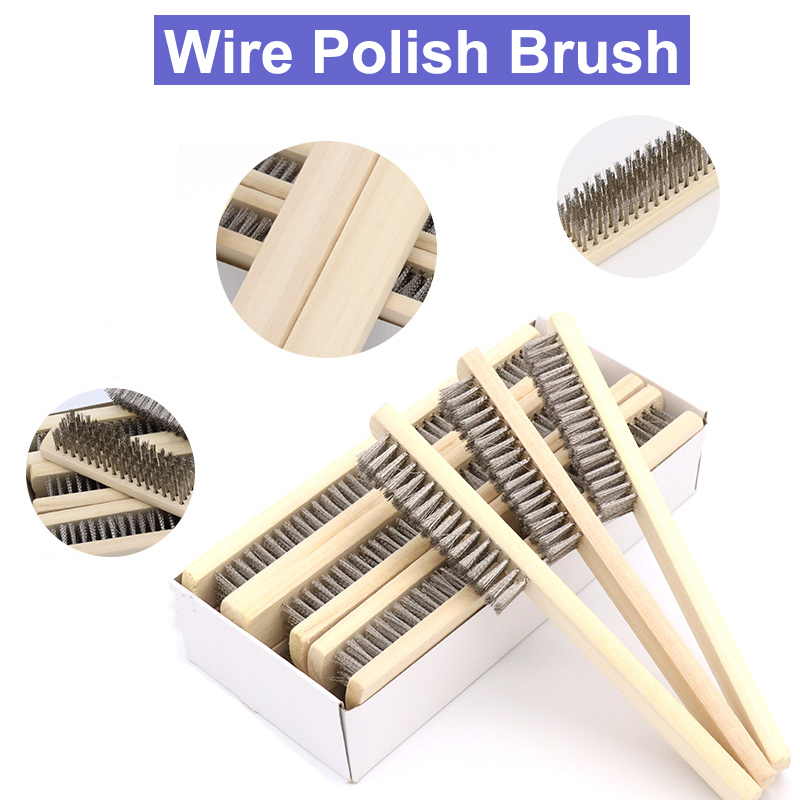 5pcs 6.9-inch Plastic Handle Brass 3 Rows Bristle Cleaning Wire Brush tool ONZY