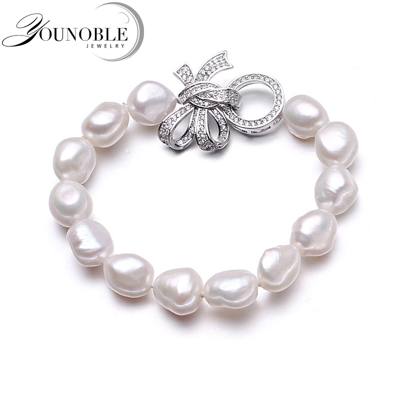 Charm Baroque Freshwater Pearl Bracelets For Women,white Real Natural Pearl Bracelet Jewelry Girlfriend Birthday(China)