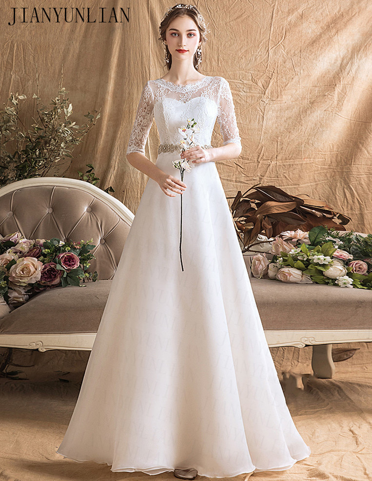 Free Shipping Lace Wedding Dresses Half Sleeve 2019 Plus Size Vintage Belt Bridal Wedding Gowns Organza Real Phot