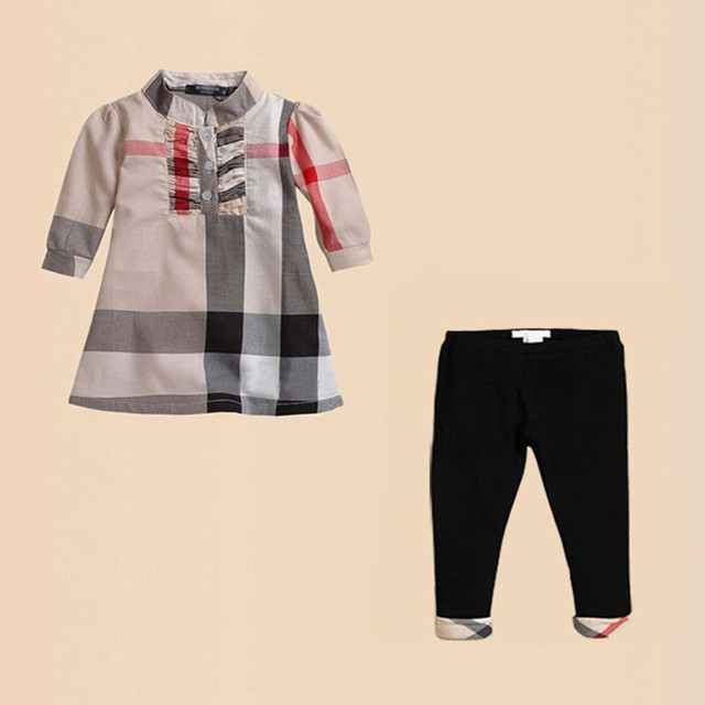 2017 New Autumn baby girls brand clothing sets children's plaid t shirts+leggings Suits baby outfits Brand clothes free shipping