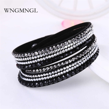 WNGMNGL New Punk Rhinestone Crystal Wrap Multilayer Bracelets