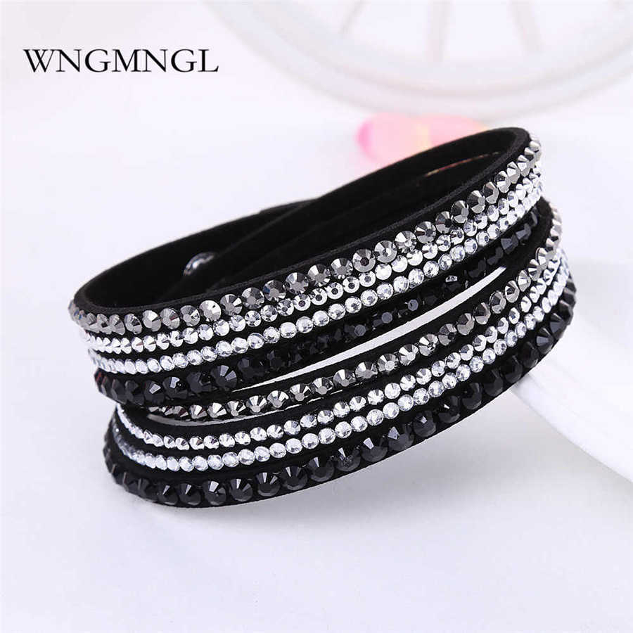 WNGMNGL 2018 New Bracelet 16 Colors Punk Rhinestone Crystal Wrap Multilayer Bracelets for women Charm Statement Fashion Jewelry