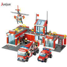 Juejue 774 Pcs City Fire Station Building Blocks DIY Educational Bricks Kids Toys Best Kids Xmas Gifts Compatible With lego 8051
