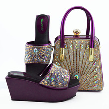 Italian Shoes Matching Party Fashion Wholesale Women And Color Newest Pu for Purse Bag-Set