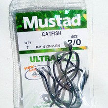 5 packs/lot Mustad hooks for sea fishing  412np # big hooks J style micro sharp catfish barbed hook ocean boat fishing tackles