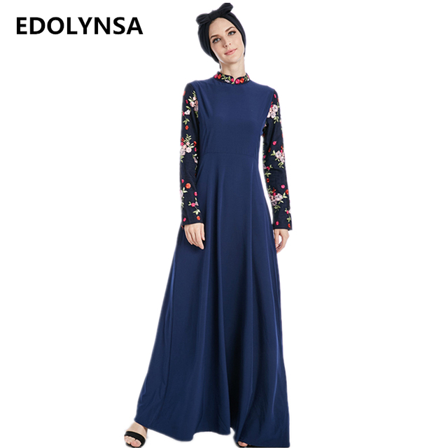 6a601884e3 Embroidery Stand Neck Dubai Abaya Patchwork Full Sleeve Muslim Dresses Soft Robe  Plus Size Maxi Dress Long Womens Clothing#D343