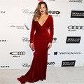 Famous Long Sleeve Awards Red Carpet Dress Sexy V-Neck Velvet Burgundy Mermaid Celebrity Dresses 2017 Brush Train Designer