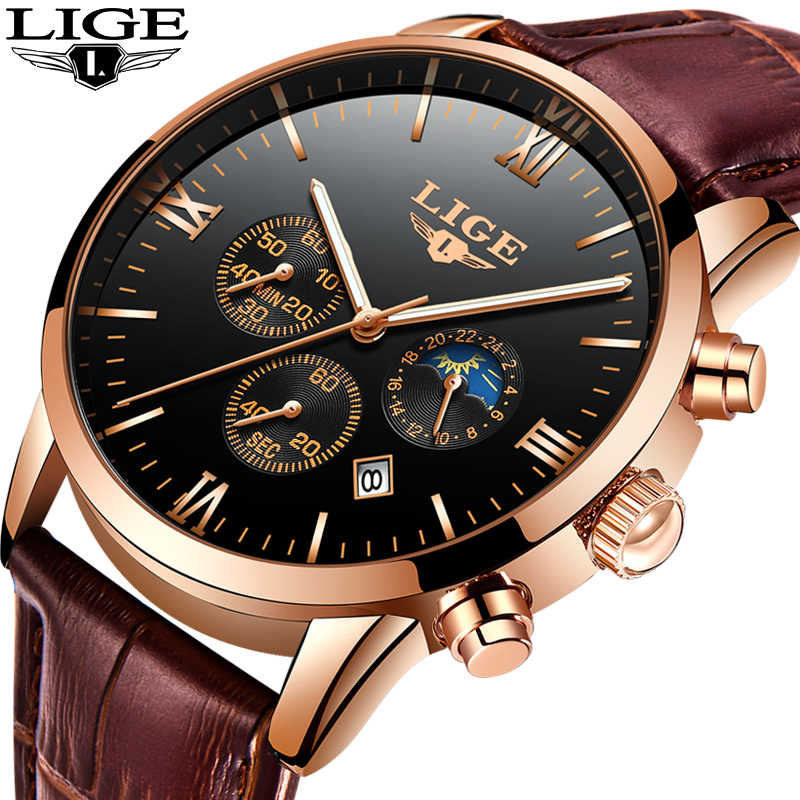 LIGE Mens Watches Top Brand Luxury Fashion Watch Men Leather Quartz Clock For Male Auto Date Rose Gold Shell relogio masculino