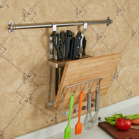 Stainless Steel Multifunction Storage Rack Wall Mounted Knife Cutting Board Shelf Kitchen Storage Rack Holder Organizer
