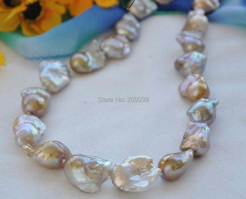 Huij 00900 22 mm lavande baroque collier de perles d'eau douce renaît