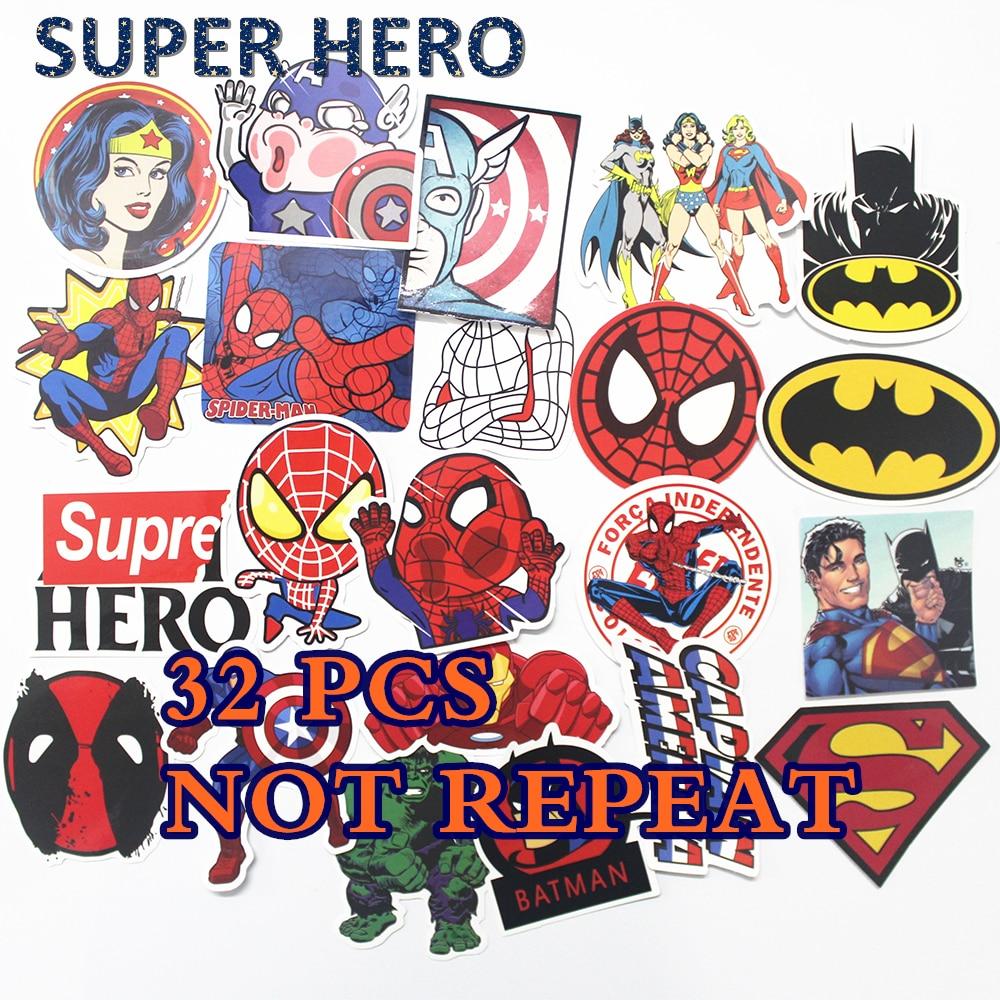 32PCS HOT Super Hero Stickers for kids laptop car decal fridge skateboard Batman Superman Hulk Iron Man sticker toy stickers
