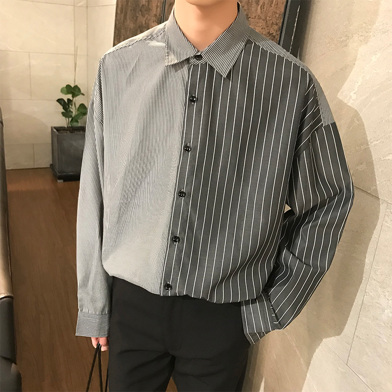 Flash Sale Korean Summer Neutral Style Concise Irregularity Stylish Split Joint Stripe Loose Shirt Men Male Brand Fashion Shirts