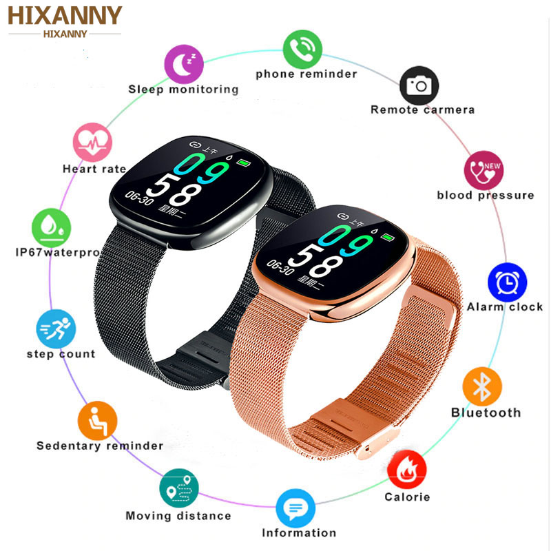 New Screen Activity Tracker Waterproof Smart Bracelet Blood Pressure Pedometer Smart Wristband Heart Rate Monitor  mens women-in Smart Wristbands from Consumer Electronics