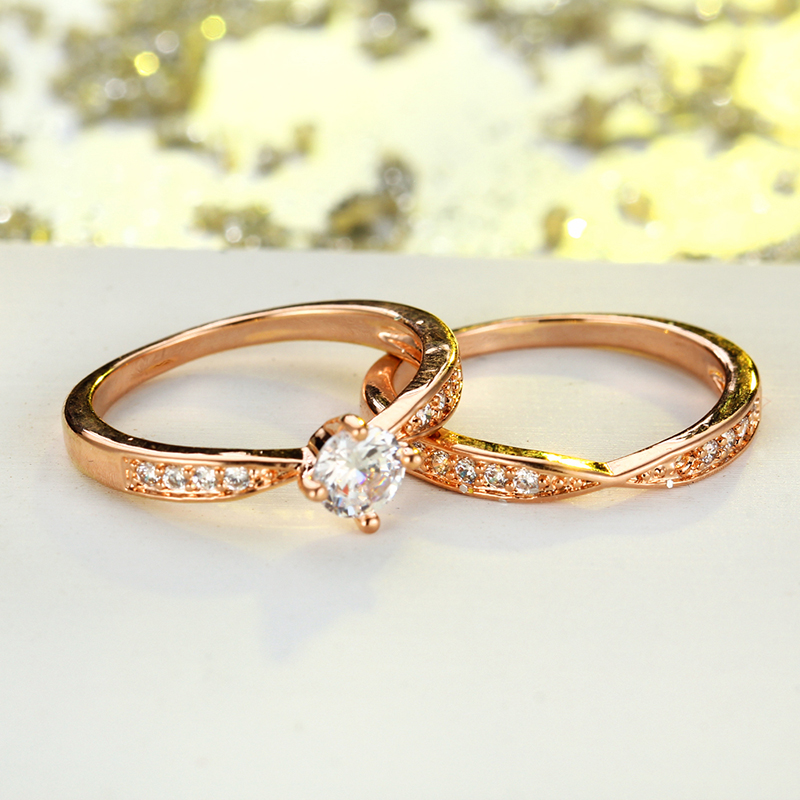 IF ME Rose Gold Wedding Rings Jewelry Cubic Zirconia Ring for Women
