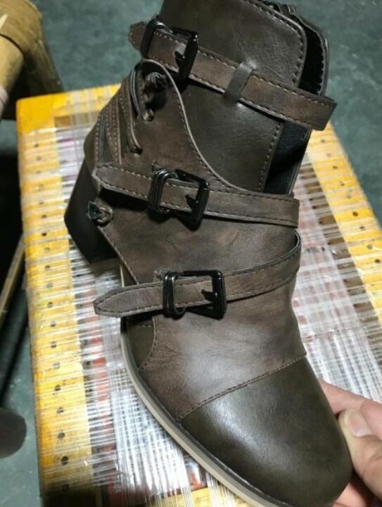 Heels khaki Stiefel Knöchel Leder Feminino Vintage Matin Luxus Femme Mitte Schuhe Chaussures Sapato Booties Herbst Frauen Black Ab1181 Quadrat 84xUPnWnq