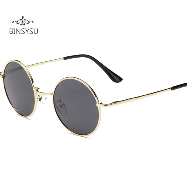 e47a8822d4ce Fashion Polarized Retro Round Glasses Men Women Metal Round Sunglasses  Vintage Small Hippie Glasses Circle Lenses