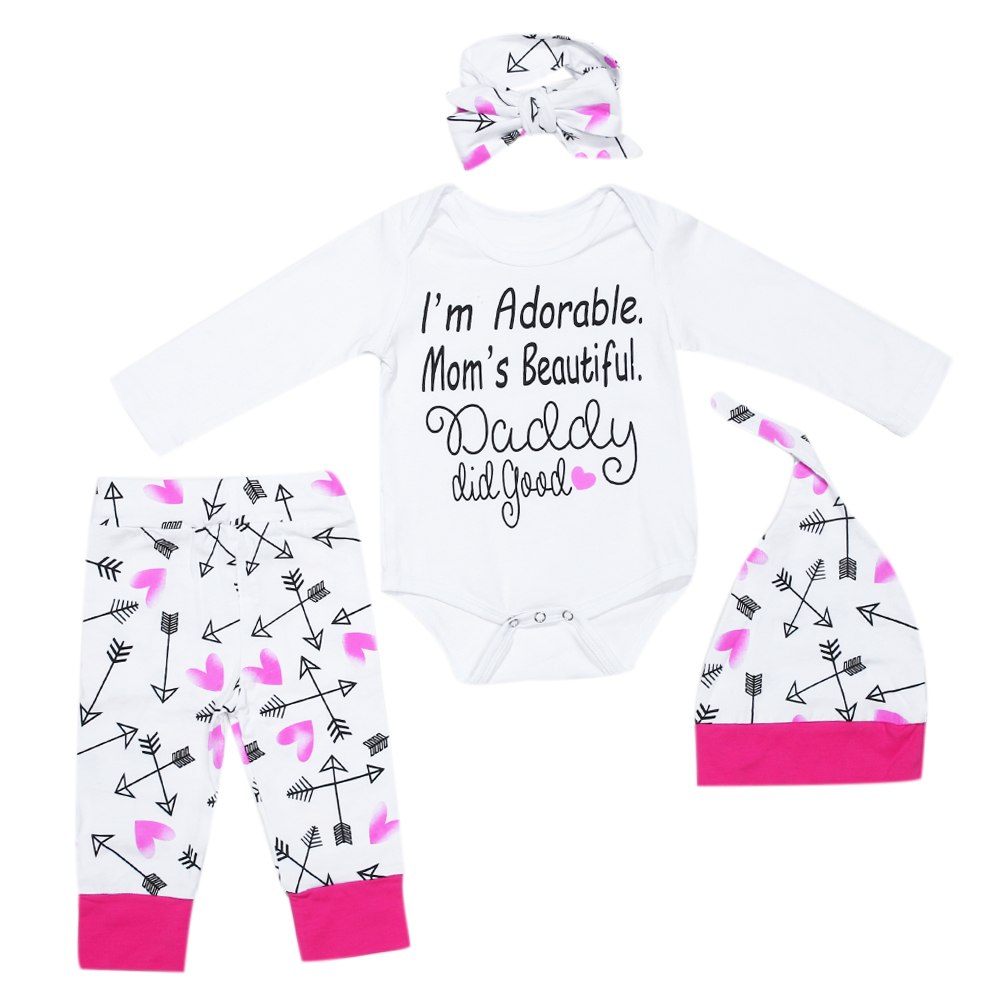 Newborn Clothes Baby Girls Set White Long Sleeve Letter Print Romper Long Pants Hat With Headband Children Clothing