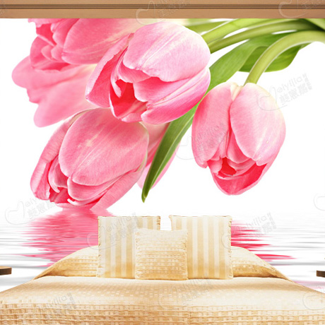 Custom large mural sofa bed bedroom living room TV background 3D wallpaper 3D wallpaper painting tulips Television pink romantic sakura reflection large mural wallpaper living room bedroom wallpaper painting tv backdrop 3d wallpaper