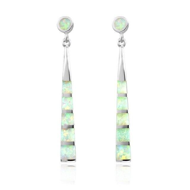 DORMITH 925 sterling silver earrings created white red fire opal waterdrop drop earrings for women jewelry