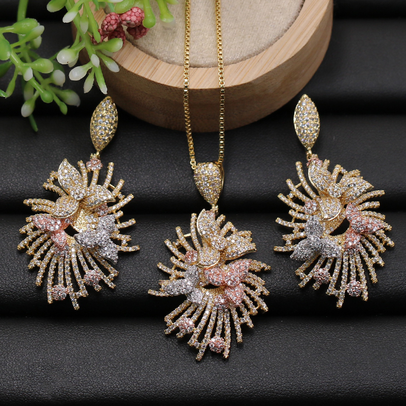 Lanyika Jewelry Set Luxury Flowers Firework Shape Cubic Zircon Micro Paved Necklace with Earrings for Engagement Bridal Gifts