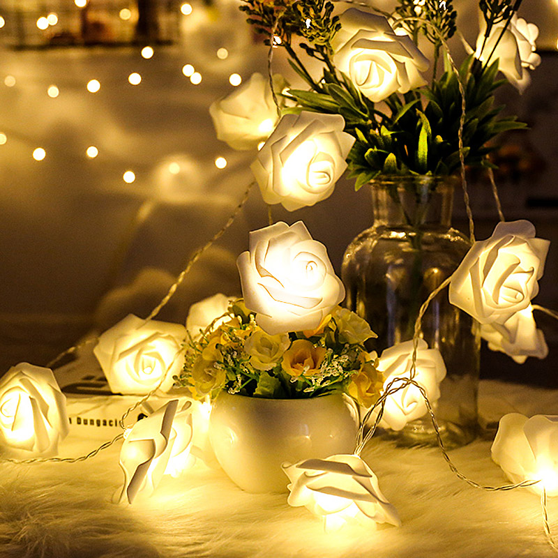 Battery Powered 50 LED Rose Flower String Fairy Lights Wedding Home Birthday Valentine's Day Party Decoration Waterproof