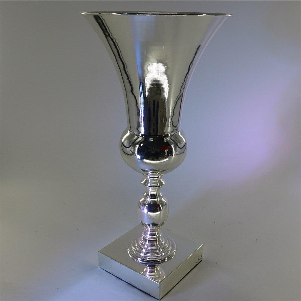 80cm Tall Wedding Flower Vase Metal Trumpet Vase For: 4pcs/lot Stunning Silver Metal Flower Vases Trumpet Shape