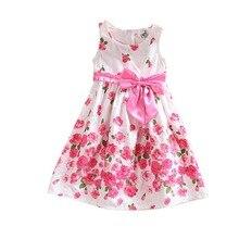 2-6 Years Kids Baby Girls Sleeveless Floral Bow Party Dress Sundress Children Princess Costume Dresses 2016 LS4