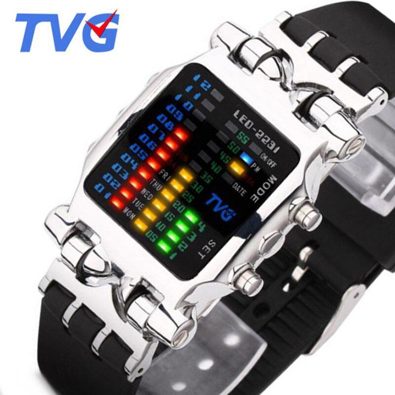 TVG Homens Relógios Top Marca de Luxo de Moda Pulseira De Borracha LED Digital Relógios Homens Relógios Desportivos 30 M À Prova D' Água Relogio masculino
