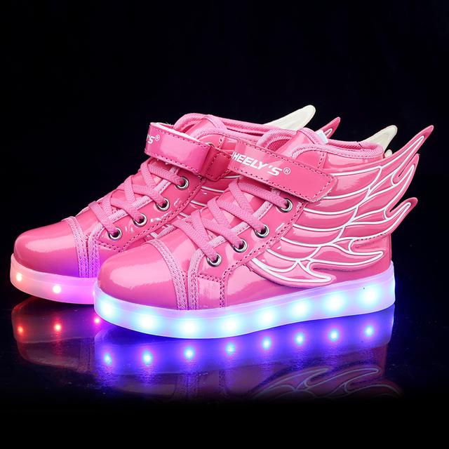 2016 Nuevos zapatos de la manera de carga USB LED luminoso zapatos de bebé de 11 colores luces intermitentes zapatos