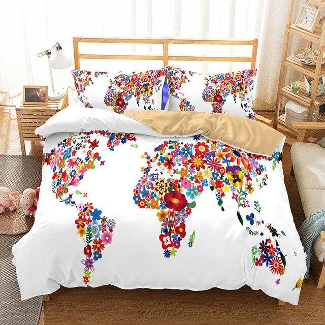 World Map Soft Bedding Set Duvet Cover Pillowcase 3pcs Bed Cover ...