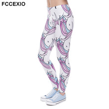 FCCEXIO Brands New Fashion Women Leggings Qilin And Sweets 3D Printed Leggins Fitness legging Sexy Slim