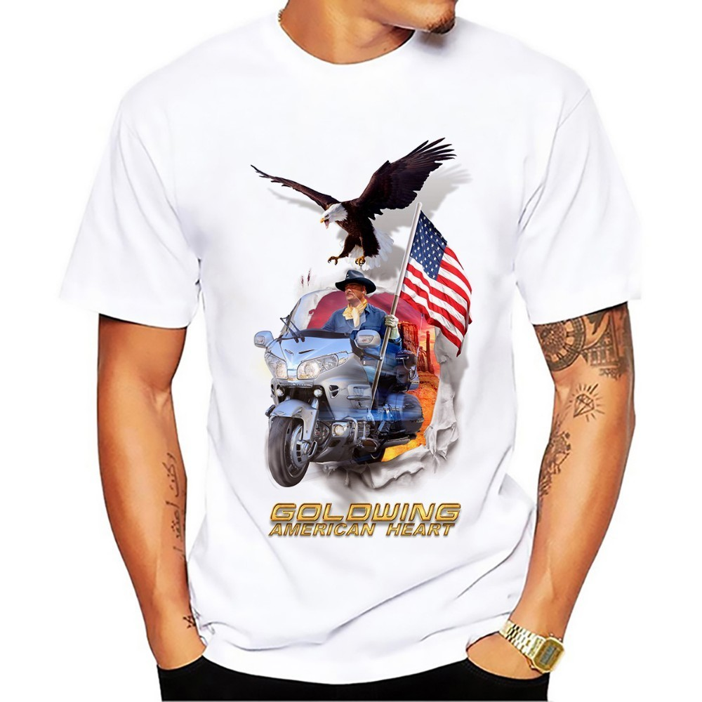 Goldwing American Heart Design T Shirt Men 2018 New White Breathable Casual Plus Size Tee Shirt Homme No Glue Print Tshirt