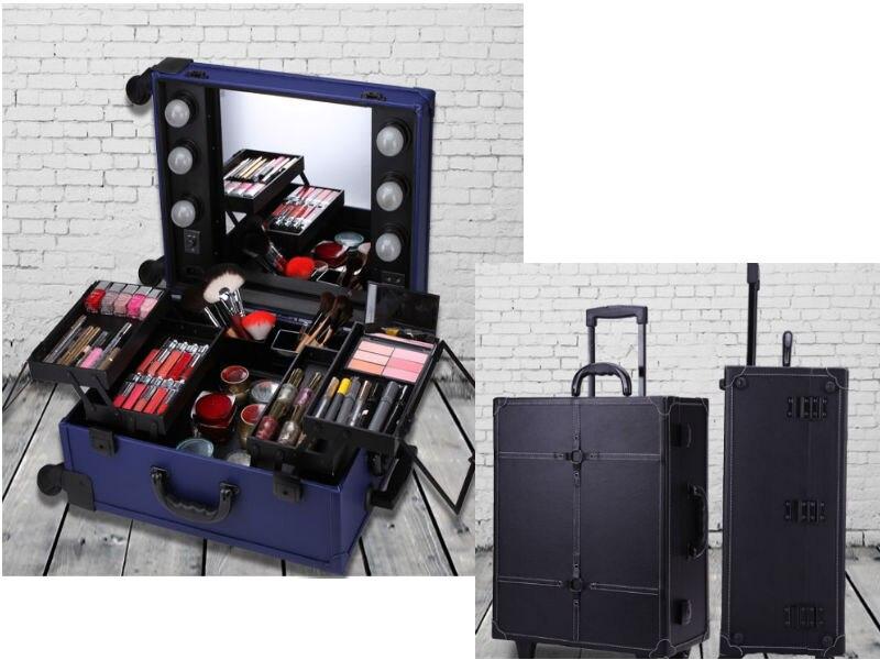 Make Fall Multilayer Aluminium Trolley Und Große spiegel rosa Pu up Mit Kapazität blau Panel W Lampen Schwarzes Box Rahmen fEqY8
