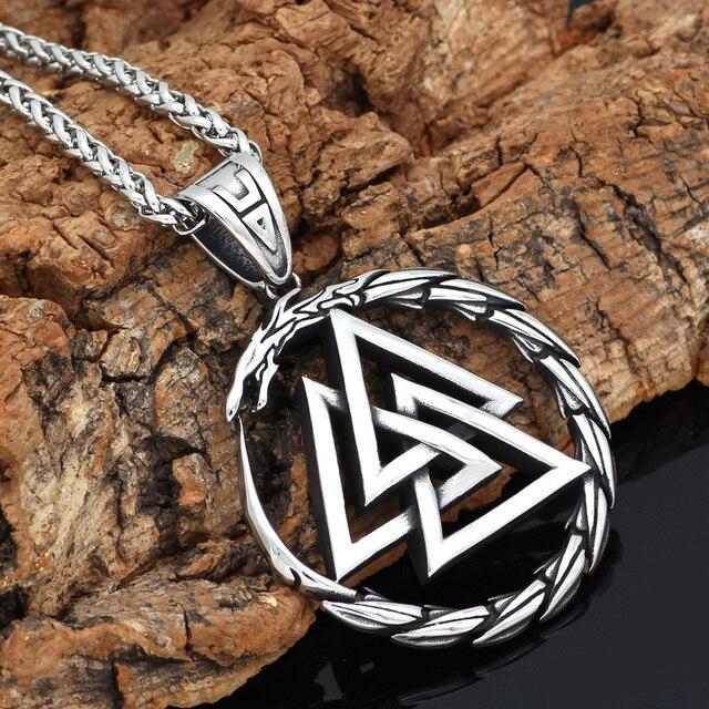 Collier pendentif homme en acier inoxydable Viking Valknut amulette dragon 4