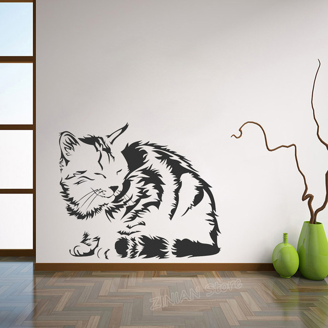 cute sleeping cat vinyl wall stickers home decor living room pet