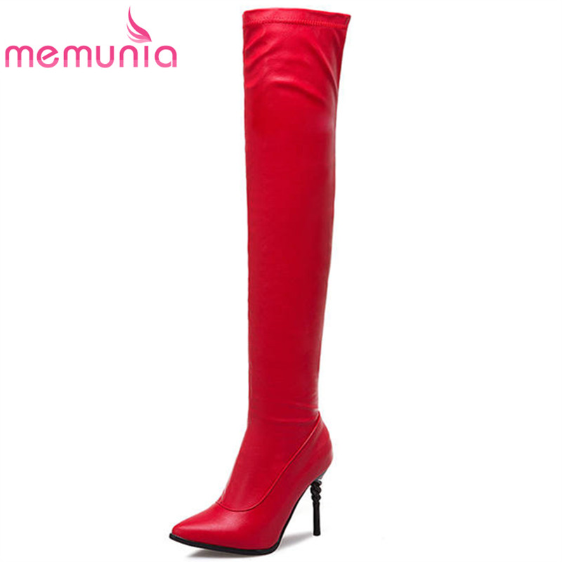 MEMUNIA 2018 newest pointed toe thigh high boots women solid color elegant party shoes sexy Super heel autumn winter boots red микроволновая печь hotpoint ariston mwha 13321 cac