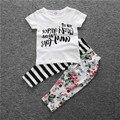 Meninas do bebê do alfabeto impressão T-shirt de algodão preto e Tarja costura impressão calças conjuntos de roupas da menina da criança