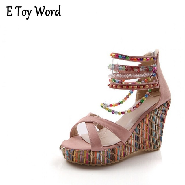 9a41f3ce0a The new foreign trade wedges sandals fashion women's Bohemian handmade beaded  sandals of big yards
