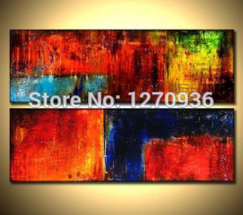 Red orange blue black collision abstract decorative painting  decorative painting handmade oil painting On Canvas Paintings