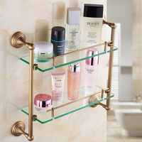 Copper double tier bathroom glass shelf dressing table European style garden shelf Bathroom storage rack wx11121410