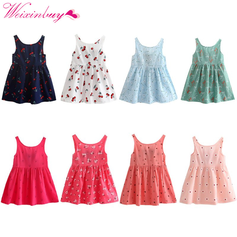 Dress For Girls Baby Girl Clothes 8 Color Summer Cartoon Baby Girl Dress Cotton Cute Beach Baby Clothes Girl Dress цена