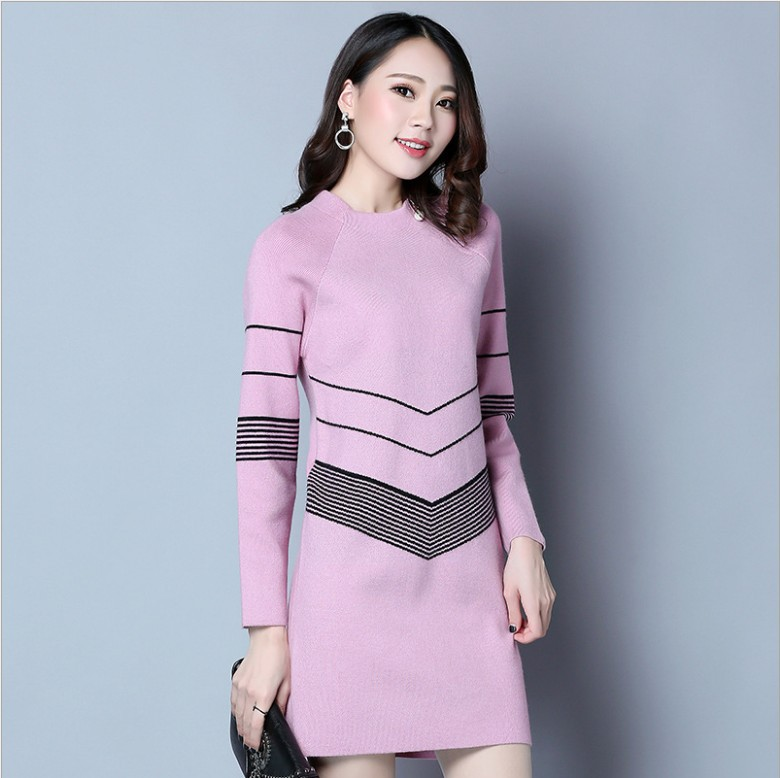 Half Collar Knitted Midi Pallover Women 39 s Sweater Fits most Cloth in Pullovers from Women 39 s Clothing