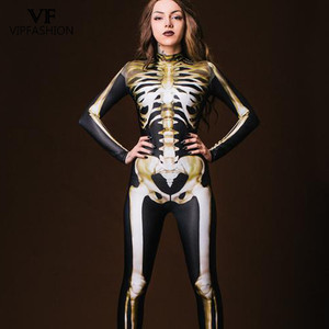 Image 1 - VIP FASHION New Graveyard Halloween Cospaly Costume For Women 3D Skull  Skeleton Ghost Jumpsuits Halloween Bodysuit